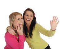 Twee mooie meisjesvrienden die pret en het lachen hebben Royalty-vrije Stock Afbeelding