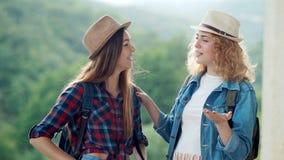 Twee mooie reizigers die van meisjesvrienden en in openlucht op bergscène bespreken lachen stock video