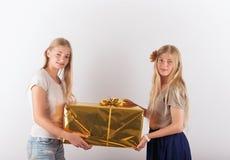 Twee mooie tienermeisjes die een grote huidige doos houden Stock Afbeeldingen