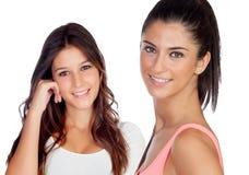 Twee mooie toevallige meisjes Stock Afbeeldingen