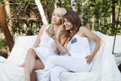 Twee mooie vrouwelijke vrienden die bij schommeling en het spreken rusten royalty-vrije stock foto's