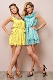 Twee mooie vrouwen in de zomerkleding. stock foto's