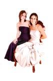 Twee mooie vrouwenzitting in een leunstoel. Stock Afbeeldingen