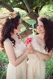Twee mooie zusters die in openlucht elkaar kijken Royalty-vrije Stock Afbeeldingen