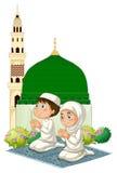 Twee moslimjonge geitjes die bij moskee bidden vector illustratie