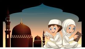 Twee moslimjonge geitjes die boek met moskeeachtergrond lezen vector illustratie