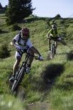 Twee mountainbikers door bergaf Stock Fotografie