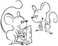 Twee mouses met kaas Royalty-vrije Stock Afbeeldingen