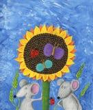 Twee muizen en zonnebloem Royalty-vrije Stock Afbeeldingen