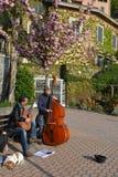 Twee musici die gitaar en contrabas spelen in Varenna lakefront in een zonnige de lentedag royalty-vrije stock fotografie