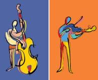 Twee musici het spelen Stock Afbeelding