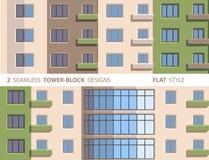 Twee Naadloze toren-Blok Ontwerpen Vlakke stijl Royalty-vrije Stock Foto