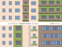 Twee Naadloze toren-Blok Ontwerpen Vlakke stijl Royalty-vrije Stock Foto's