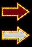 Twee neonpijl Royalty-vrije Stock Afbeeldingen