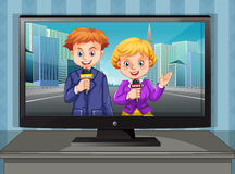 Twee nieuwsverslaggevers op televisie Royalty-vrije Stock Foto
