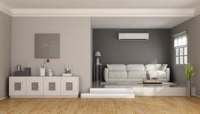 Twee niveaus moderne woonkamer stock illustratie