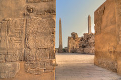 Twee obelisken in tempel Karnak Stock Afbeelding