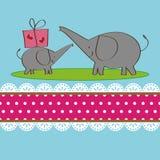 Twee olifantenontwerp voor groetkaart Stock Foto's