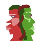 Twee onderlinge afhankelijkheid zien profielen onder ogen stock illustratie