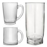Twee ondoorzichtige glaskoppen en één glas voor sap royalty-vrije illustratie