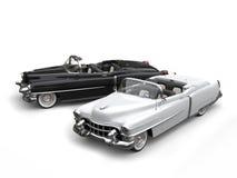 Twee ontzagwekkende zwart-witte uitstekende auto's - hoogste mening royalty-vrije illustratie
