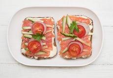 Twee open sandwiches royalty-vrije stock foto