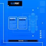Twee optiesmalplaatje met abstract 3d element in blauwdrukstijl EPS10 Royalty-vrije Stock Afbeeldingen