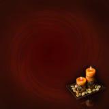 Twee oranje kaarsen Stock Foto