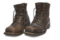 Twee oude bruine laarzen Royalty-vrije Stock Afbeelding