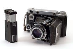 Twee oude fotocamera's Stock Afbeeldingen