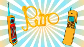 twee oude gele gouden retro retro knoop hipster uitstekende vierkante eerste mobiele telefoons met lange antenne en schuiven en r stock illustratie