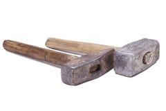 Twee oude hamers Royalty-vrije Stock Afbeeldingen