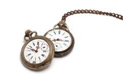 Twee oude horloges die op wit worden geïsoleerdg royalty-vrije stock foto's