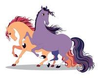 twee paarden Royalty-vrije Stock Afbeeldingen