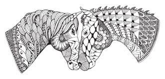 Twee paarden die affectie tonen, zentangle stileerden, vector stock illustratie