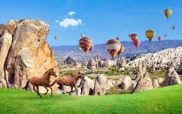 Twee paarden het lopen en hete luchtballons in Cappadocia, Turkije stock foto