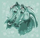 Twee paarden in liefde op blauw Stock Afbeeldingen