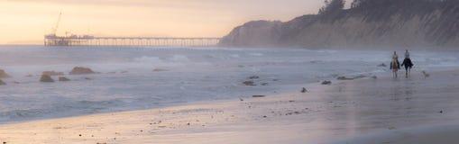 Twee paardruiters op strand Royalty-vrije Stock Foto's