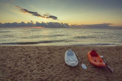 Twee paddleboards op strand Royalty-vrije Stock Foto's