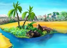 Twee Palmen in de Woestijnoase dag vector illustratie