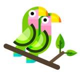 Twee papegaaien in vlakke stijl Stock Afbeelding