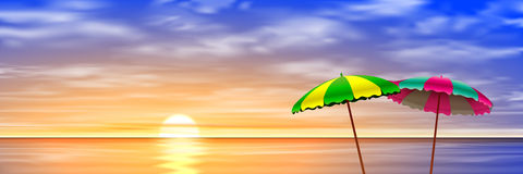 Twee parasols Royalty-vrije Stock Foto's