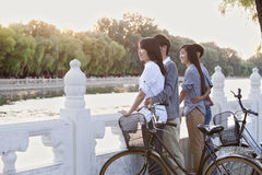 Twee paren door HouHai Lake met Fietsen in Peking Royalty-vrije Stock Foto
