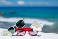 Twee paren zonnebril op achtergrond van oceaan Stock Foto
