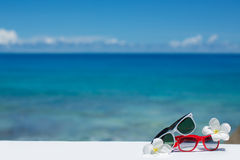 Twee paren zonnebril op achtergrond van oceaan Royalty-vrije Stock Foto