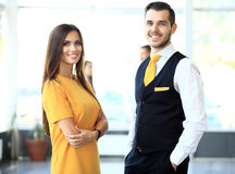 twee partners die het werk plannen royalty-vrije stock foto's