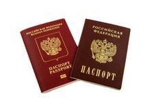 Twee paspoorten - interne Russische paspoorten en het paspoort van t Stock Fotografie