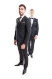 Twee pasten mannelijke modellen aan die stropdas dragen en bowtie Royalty-vrije Stock Afbeeldingen