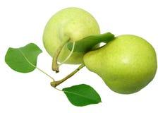 Twee peren met bladeren Royalty-vrije Stock Fotografie