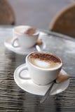 Twee perfecte cappuccinos royalty-vrije stock fotografie